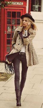skinny jeggings leopard coat