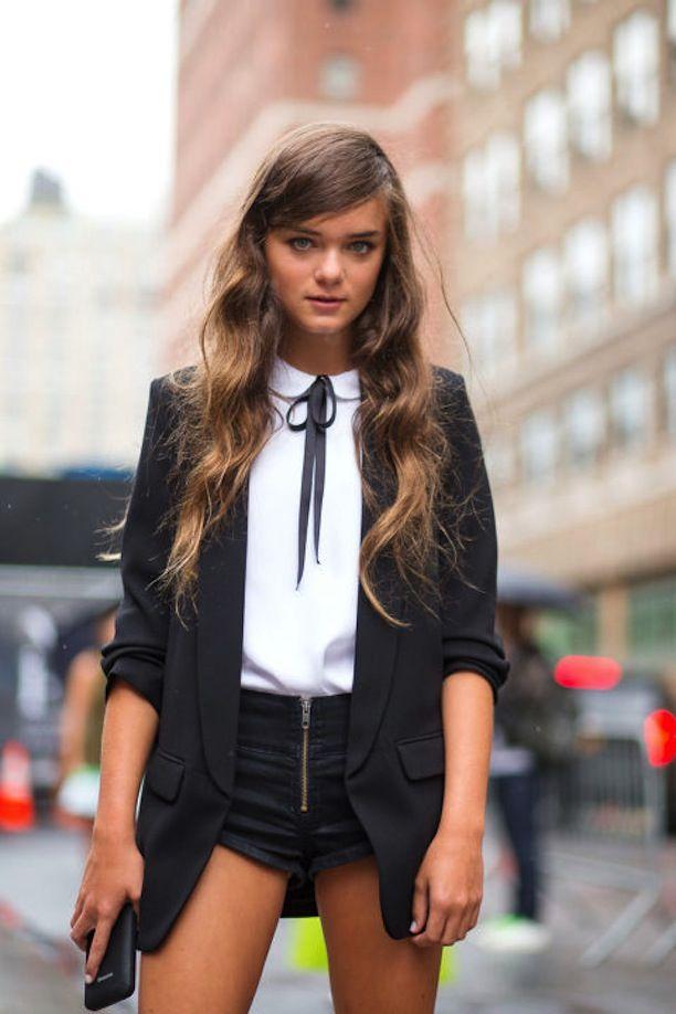tie neck blouse plus tuxedo
