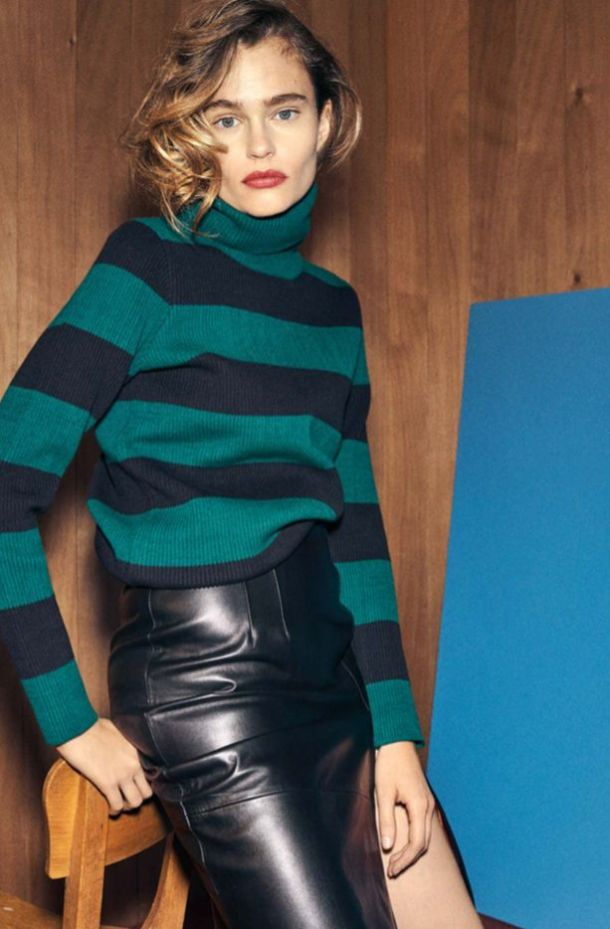 blue and green turtleneck sweater