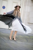 cape dress and hat