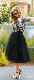 black tulle with a playful balck and white top