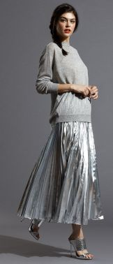dkny metallic pleated skirt
