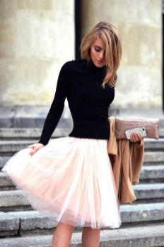 pink tulle with a black turtleneck