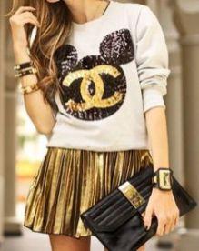rock pleated skirt