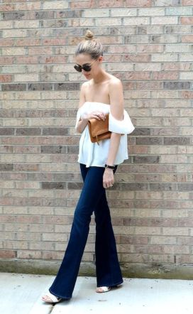 off ths shoulder white blouse with flared jeans