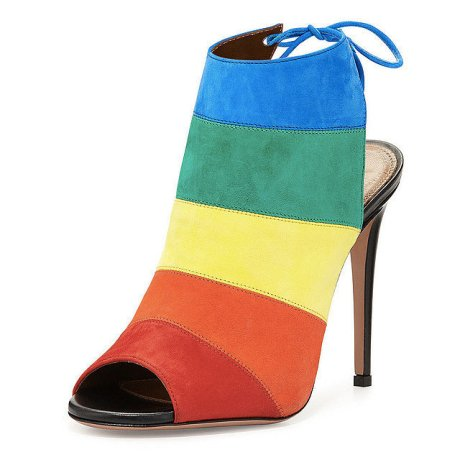 aquazzura rainbow striped suede sandal