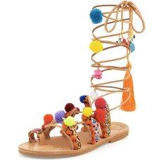 elina linardaki penny lane pompom gladiator sandal
