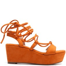 lace up platforms suede orange