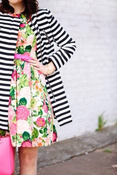 floral dress with stripes coat