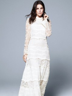 hm conscious collection long silk blend lace dress