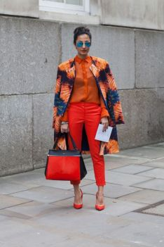 monochrome orange outfit