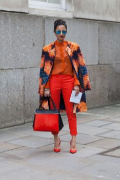 monochrome orange outfit