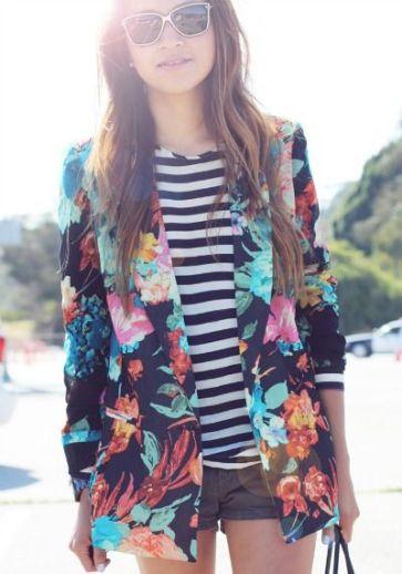 stripes and floral blazer