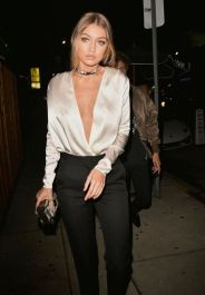 satin shirt in gigi hadid
