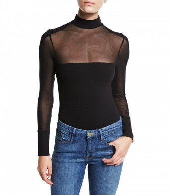 kendall and kylie mock neck mesh bodysuit
