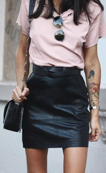 faux leather mini skirt and pink