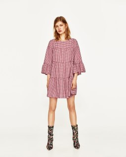 mini dress gingham style zara