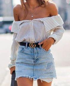 denim skirt and gucci belt
