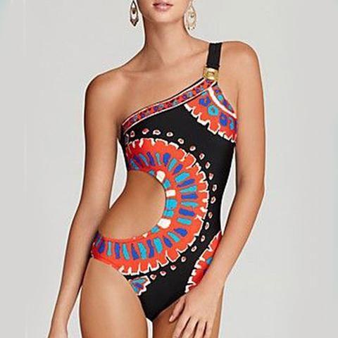 geometric print swimsuit