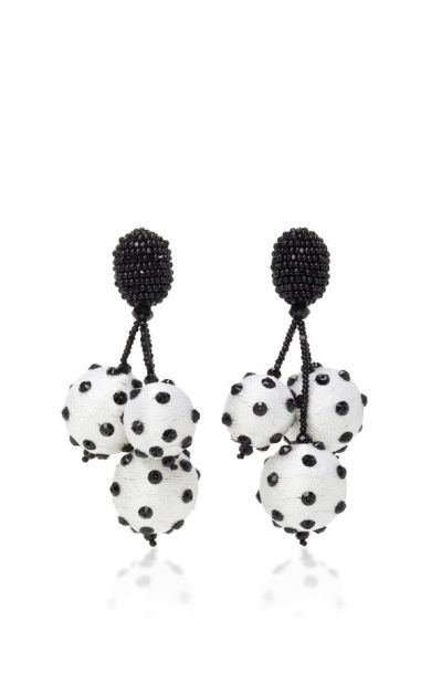 oscar de la renta triple ball polka dot earrings