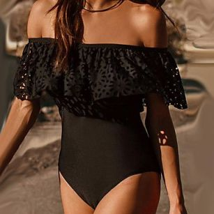 shoulder ruffle swimwear