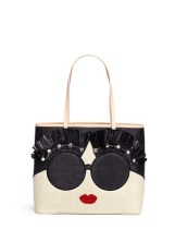 alice and olivia stace face embellished straw tote