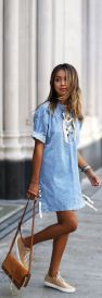 denim dress street style