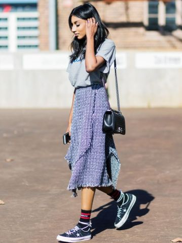 midi skirt and sneakers