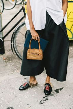 with mini bag and culotte