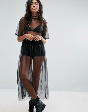 pull&bear mesh midi dress