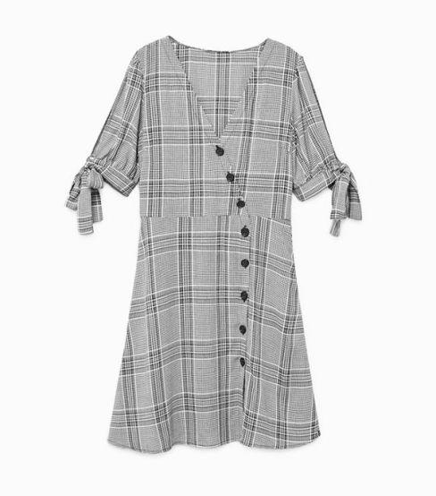 mango check wrap dress