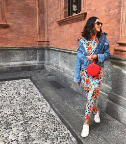 high neck floral dress with sneakers
