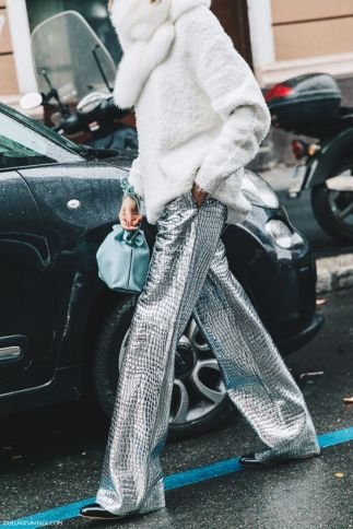 cozy sweater and silver pants
