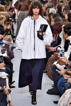 PARIS, FRANCE - OCTOBER 01: A model walks the runway during the Celine Ready to Wear Spring/Summer 2018 fashion show as part of the Paris Fashion Week Womenswear Spring/Summer 2018 on October 1, 2017 in Paris, France. (Photo by Victor VIRGILE/Gamma-Rapho via Getty Images)