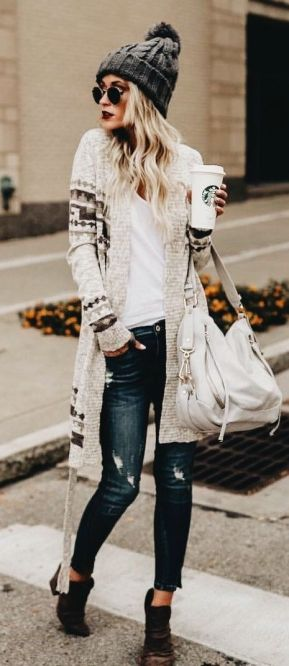 comfy knit sweater and cardigan