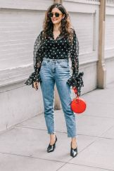 high rise mom jeans and feminine blouse
