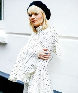 polka dot with boots and bloack beret