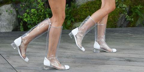 chanel clear plastic rain boots