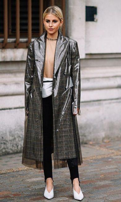 pvc plaid coat