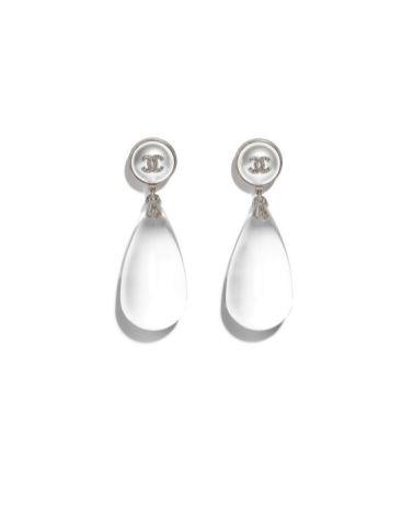 white crystal chanel earrings