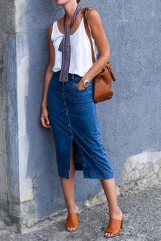 denim skirt with mules