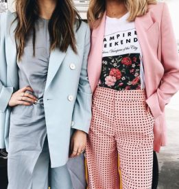 pastel colored suit