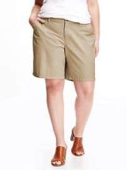 "Twill Plus-Size Bermuda Shorts (10"") - Rolled Oats"