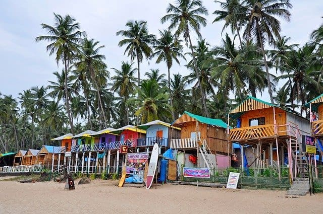colorful beach homes goa india