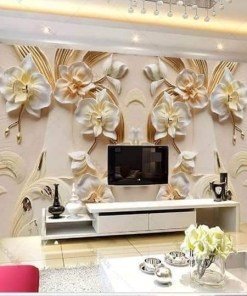 Cream & Gold Flowery Background Wall Mural