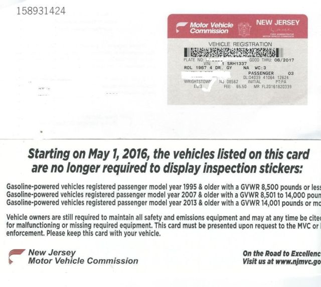 New Jersey Motor Vehicle Registration Renewal