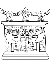 Winter chimney coloring page