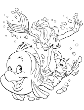Little mermaid and fish
