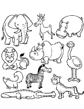 Animals colouring page for kids
