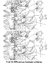 Coloring pages with differing details